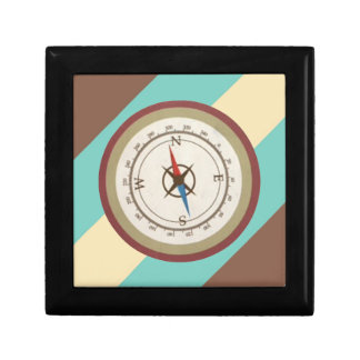 Nautical Compass On Vintage Retro Blue Cream Brown Trinket Box