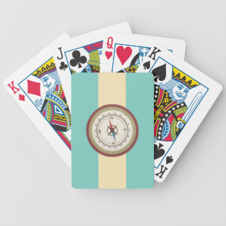 Nautical Compass On Vintage Retro Blue Cream Brown Bicycle Poker Cards