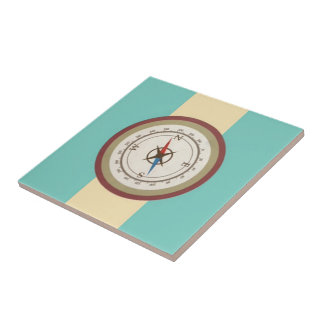 Nautical Compass On Vintage Retro Blue Cream Brown Small Square Tile