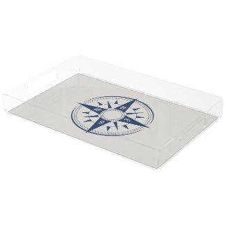 Nautical Compass Rectangle Acrylic Tray