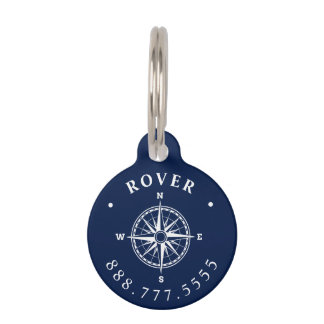 Nautical Compass Rose Custom Pet Name Tag