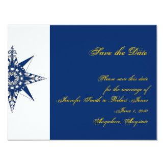 Nautical Compass Rose Navy Yellow Save the Date Personalized Invites