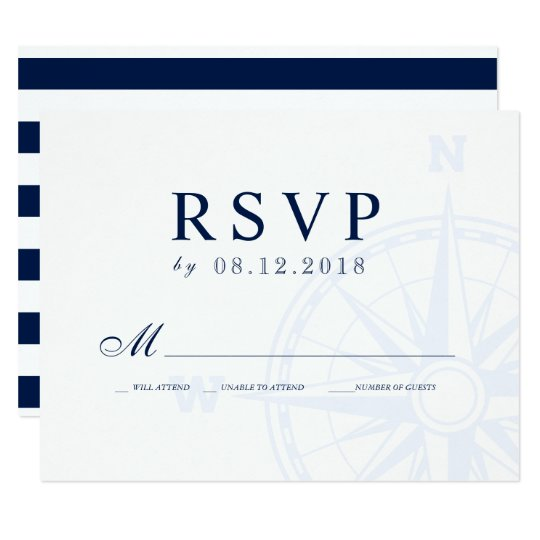 Nautical Compass Rose Wedding RSVP Card