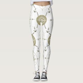 Nautical compass taupe white ocean leggings