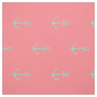 Nautical Cool Aqua Anchors on Coral Pink Fabric
