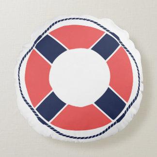 Nautical Coral Orange Navy Take the Helm Mate! Round Cushion
