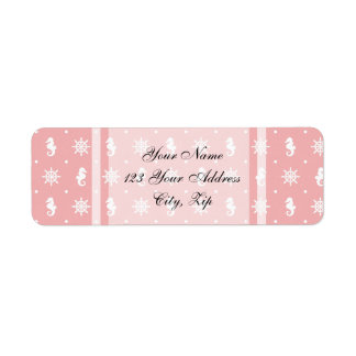 Nautical coral pink pattern return address label