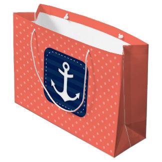 Nautical Coral Polka Dot Pattern Navy Blue Anchor Large Gift Bag