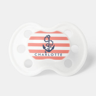Nautical Coral Stripe Anchor Personalized Dummy