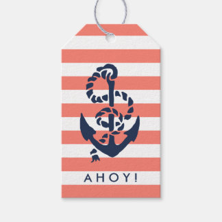 Nautical Coral Stripe & Navy Anchor Gift Tags