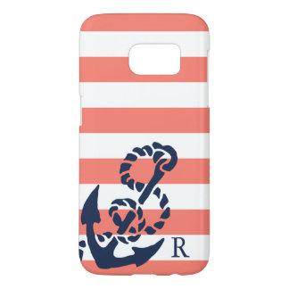 Nautical Coral Stripe & Navy Anchor Monogram