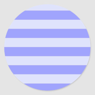 Nautical Cornflower Blue and Pastel Blue Stripes Classic Round Sticker