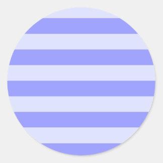 Nautical Cornflower Blue and Pastel Blue Stripes Classic Round Sticker