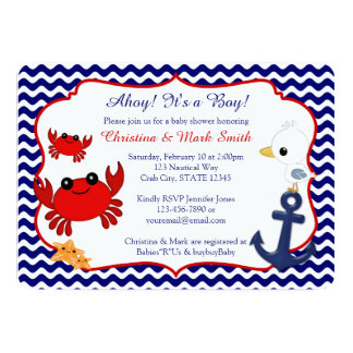 Nautical Crab Baby Shower Invitations