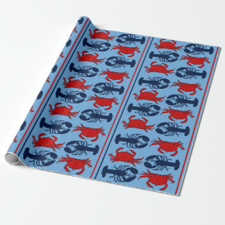 Nautical Crabs and Lobsters Seafood Gift Wrapping Paper