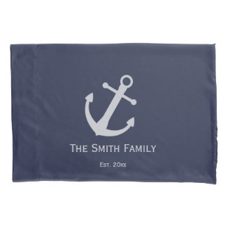 Nautical | Custom Family Name and Est. Anchor Pillowcase