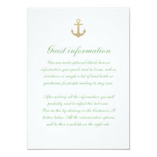 Nautical Custom Mint White Wedding Insert Card 11 Cm X 16 Cm Invitation Card