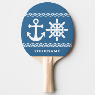 Nautical custom text & color ping pong paddle