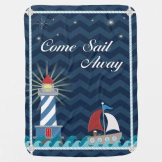 Nautical *Customisable* Sail Away *Midnight* Buggy Blankets