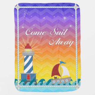 Nautical *Customisable* Sail Away *Sunset* Receiving Blanket