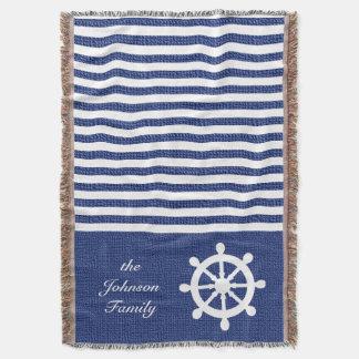 Nautical Dark Blue and White Stripes