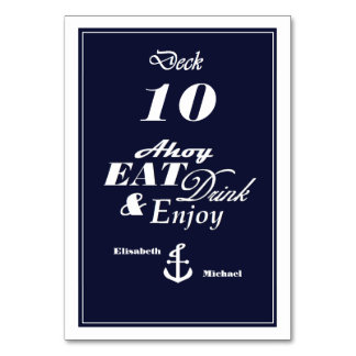 Nautical Deck Table Number Card