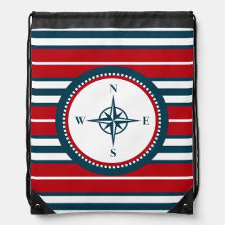 Nautical design drawstring bag