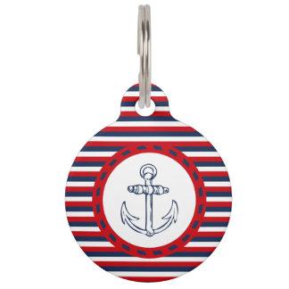 Nautical design pet nametag