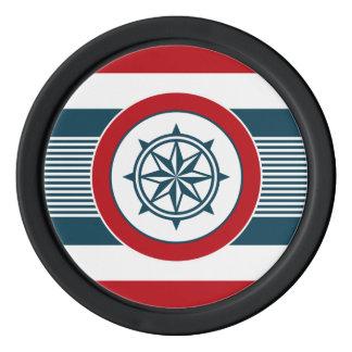 Nautical design poker chips