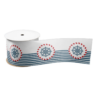 Nautical design satin ribbon