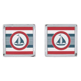 Nautical design silver finish cuff links