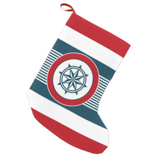 Nautical design small christmas stocking