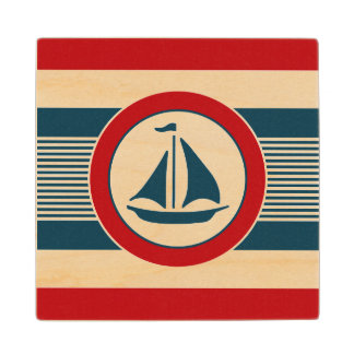 Nautical design wood coaster