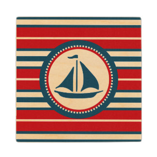 Nautical design wood coaster