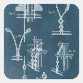 Nautical Detail Blueprint IV Square Sticker