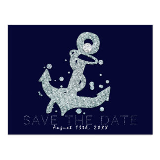 Nautical Diamond Anchor Bling Glam Save the Date Postcard