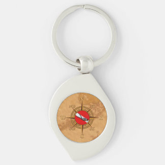 Nautical Dive Compass Key Ring