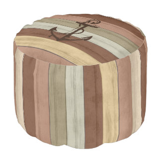 Nautical Earth Tone Wood with Stripes & Anchor Pouf