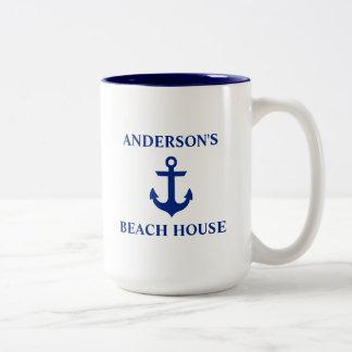 Nautical Family Name Beach House Anchor Blue Large Two-Tone Coffee Mug