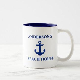 Nautical Family Name Beach House Anchor Blue Two-Tone Coffee Mug