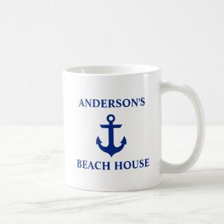 Nautical Family Name Beach House Anchor Coffee Mug