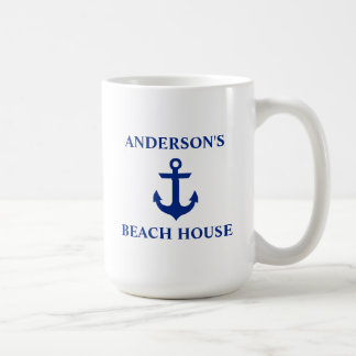 Nautical Family Name Beach House Anchor Large Coffee Mug