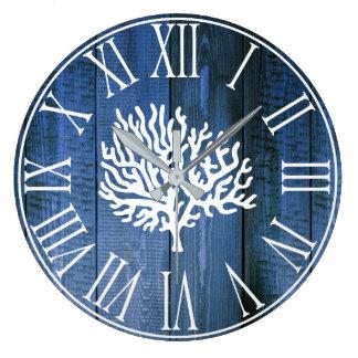 Nautical Faux Blue Wood & Sea Coral Silhouette Large Clock