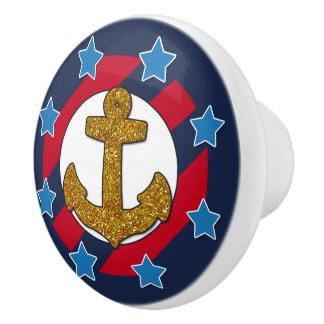 Nautical | Faux Gold Glitter Anchor | Stars Ceramic Knob