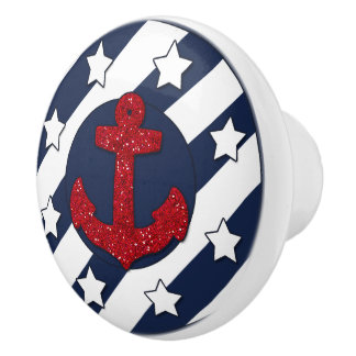 Nautical | Faux Red Glitter | White Stars Ceramic Knob