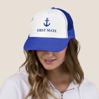 Nautical First Mate Anchor Blue Trucker Hat