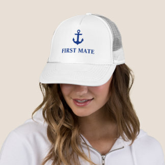 Nautical First Mate Anchor White Trucker Hat