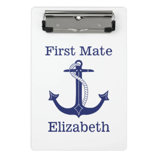 Nautical First Mate Blue Anchor Personalized Mini Clipboard