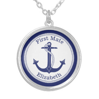Nautical First Mate Blue Anchor Personalized Silver Plated Necklace