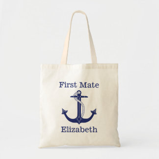 Nautical First Mate Blue Anchor Personalized Tote Bag